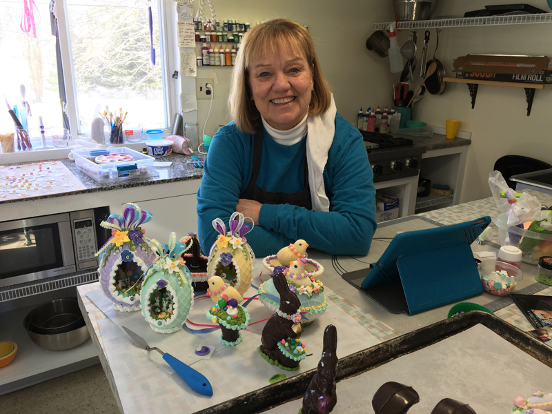 Kahren Hayward in her confectionery studio in Waldoboro. (Suzi Thayer photo)