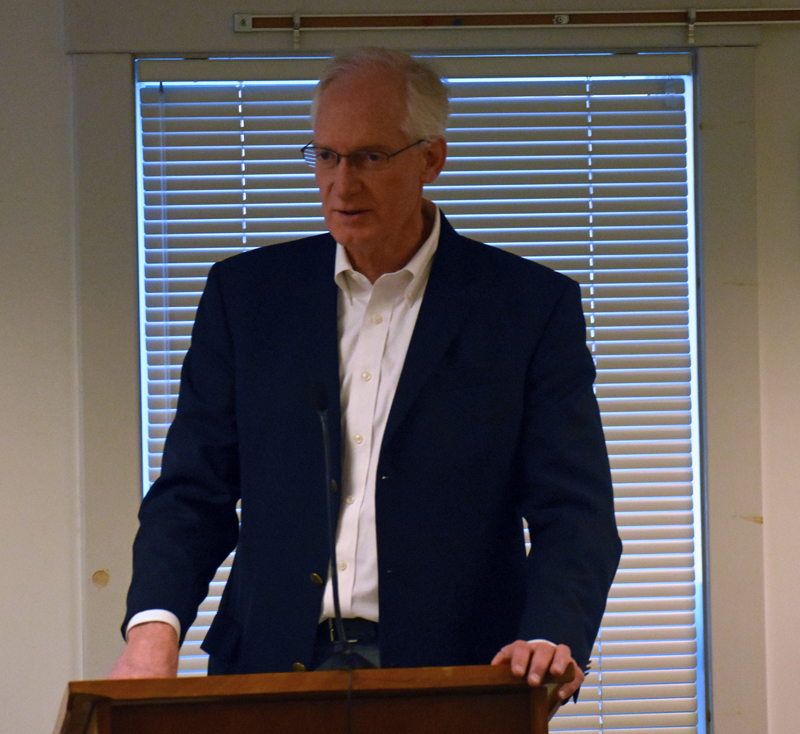 Maine Water Co. President Rick Knowlton addresses the Waldoboro Board of Selectmen during a meeting at the municipal building Tuesday, March 12. The selectmen agreed to discuss the sale of its water utility to the company. (Alexander Violo photo)