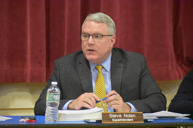 RSU 40 Superintendent Steve Nolan speaks on the school district's budget during a budget committee meeting at Prescott Memorial School in Washington on Monday, March 25. (Alexander Violo photo)