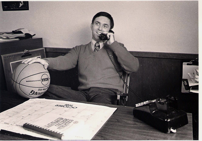 Rick Simonds in October 1981, during his third year as men's basketball coach at St. Joseph's College and shortly after a promotion to director of athletics. (Photo courtesy St. Joseph's College Athletics)