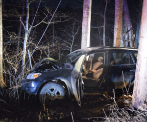 The 32-year-old driver of this 2008 Toyota RAV4 is in critical condition after a single-vehicle crash near 895 Main Road in Wesport Island the night of Tuesday, March 19. (Jessica Clifford photo)