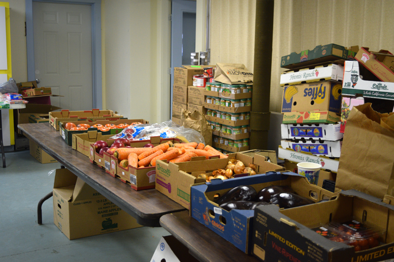 Fresh vegetables ready for pickup at the St. Denis Food Pantry in Whitefield. (Jessica Clifford photo)