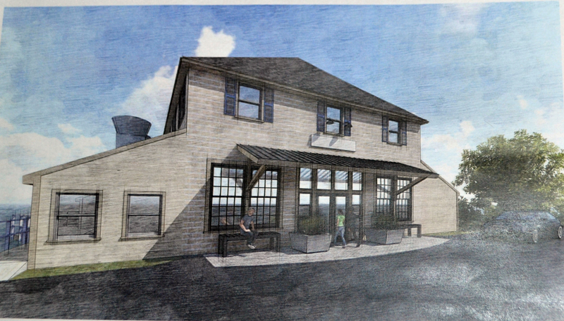 A rendering shows possible changes to Le Garage in downtown Wiscasset. The Wiscasset Historic Preservation Commission is reviewing an application for a certificate necessary to do the work.