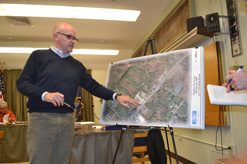 Matt Casey, of Zaremba Program Development LLC, presents plans for a Dollar General store at 277-279 Bath Road during a public hearing at the town office Monday, March 11. The board approved the project. (Charlotte Boynton photo)