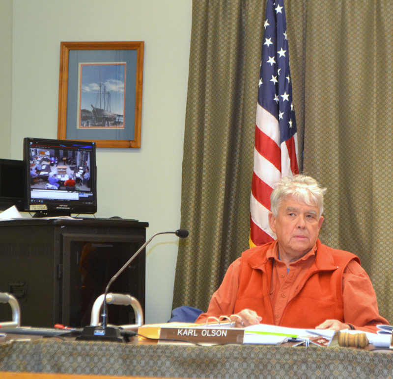 Karl Olson chairs a meeting of the Wiscasset Planning Board on Monday, March 11. The board elected Olson to replace Ray Soule, who recently resigned. (Charlotte Boynton photo)