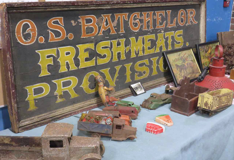 Vintage toys and signs are just one category of collectibles at the Bath Antique Sale. (Photo courtesy George Jones)