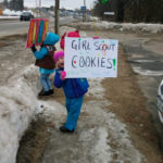 Girl Scout Cookie Booth in Damariscotta