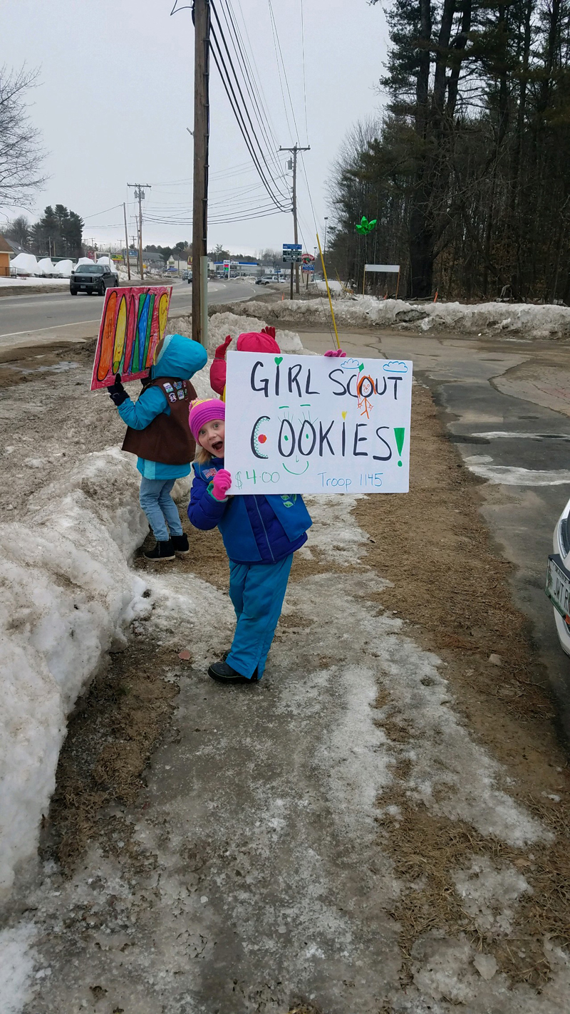 A member of Daisy and Brownie Girl Scout Troop No. 1145 sells cookies.
