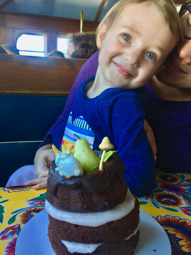 Ruby, my little grandniece, loved the cake I made her. (Suzi Thayer photo)