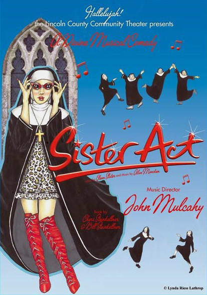 "Original ""Sister Act"" poster art by Lynda Riess Lathrop."