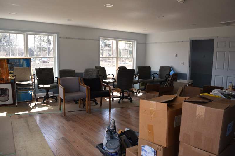 The meeting room at Alna's new town office, as moving continues. (Jessica Clifford photo)