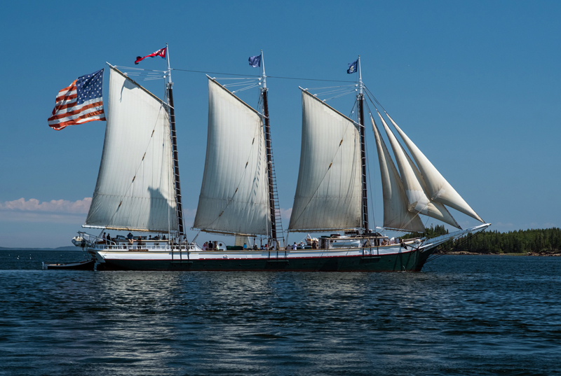 The Victory Chimes under full sail. The 118-year-old schooner will partner with Boothbay Harbor's Topside Inn to offer a special vacation package this summer. (Photo courtesy Cara Lauzon)