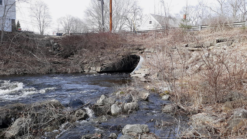 The town of Bristol will pay a contractor $575,000 to replace a large culvert under Upper Round Pond Road with a bridge. The work will close the road for up to 60 days this summer. (Candy Congdon photo)