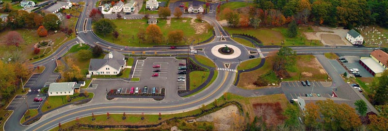 An aerial view of the roundabout on Route 27 in Boothbay. Hagar Enterprises Inc., of Damariscotta, won a statewide award for its role in the project. (Photo courtesy Hagar Enterprises Inc.)
