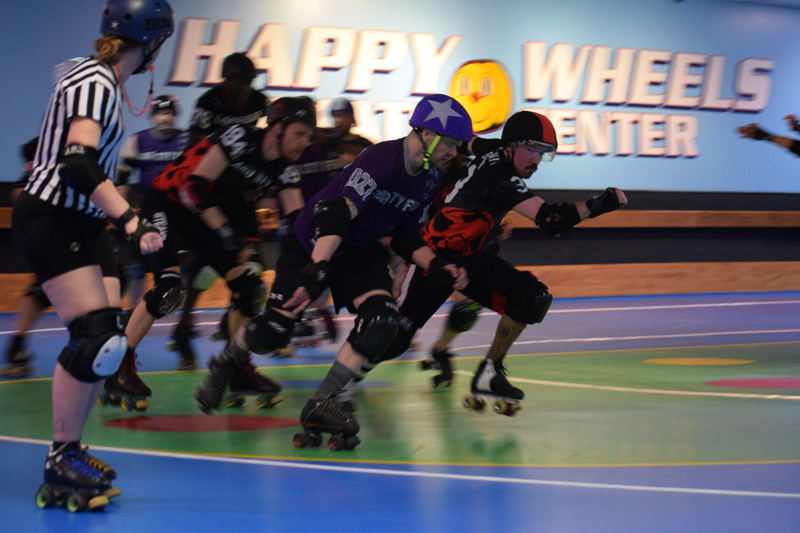 Casco Bay Roller Derby and the Flour City Fear compete at Happy Wheels Skate Center in Portland on April 6. (Jessica Clifford photo)