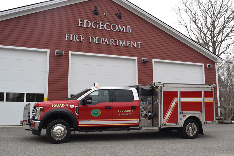 The Edgecomb Fire Department's new truck, Squad 4, in front of the fire station. The fast-attack vehicle was delivered April 2 and put into service the night of Monday, April 15. (Jessica Clifford photo)