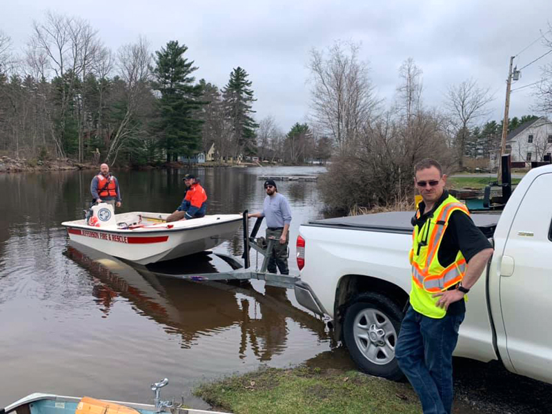 Jefferson Fire and Rescue personnel respond to an incident on Damariscotta Lake the morning of Monday, April 22. A fishing boat capsized and a nearby fisherman rescued the male occupant. (Photo courtesy Jefferson Fire and Rescue)