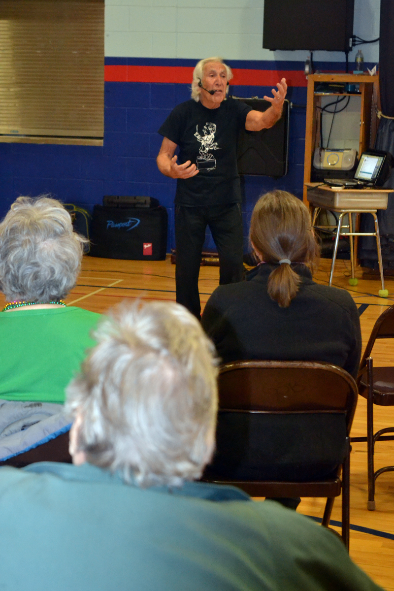 Former orchestra conductor David Dworkin leads a Conductorcise class at Great Salt Bay Community School on the morning of Saturday, April 6. (Christine LaPado-Breglia photo)