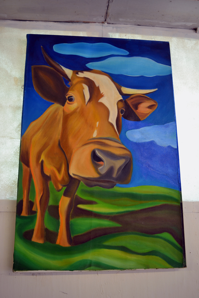 Jessica Speyer's large, colorful painting of a cow is part of the current employee art show at Sheepscot General in Whitefield, which runs through Tuesday, April 30. (Christine LaPado-Breglia photo)