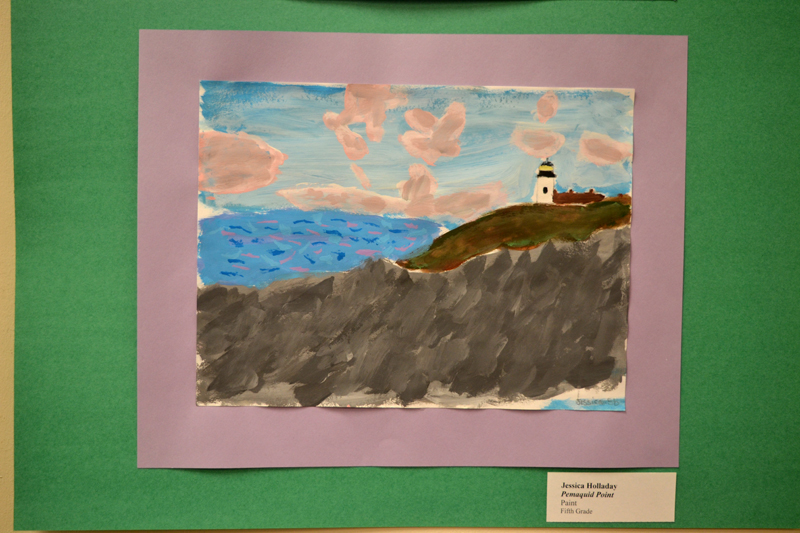 """Pemaquid Point,"" a painting by Bristol Consolidated School fifth-grader Jessica Holladay, part of the current Bristol Consolidated School art show on the walls of the Bristol Area Library through Friday, April 12. (Christine LaPado-Breglia photo)"
