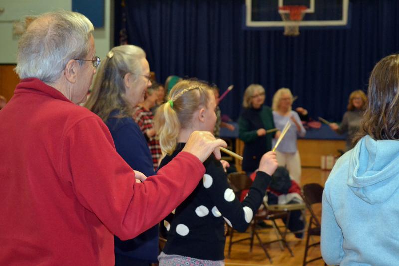 Participants in David Dworkin's April 6 Conductorcise class learn to use a conductor's baton. (Christine LaPado-Breglia photo)