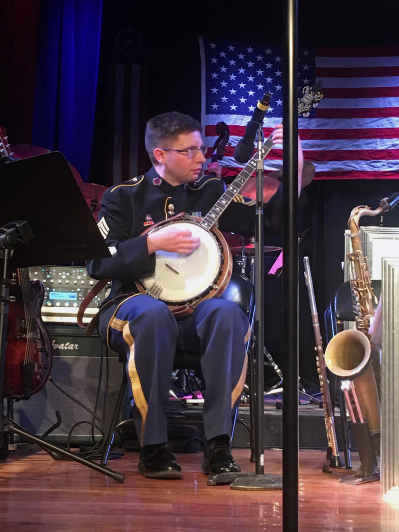 Sgt. 1st Class Jonathan Epley plays the banjo at the U.S. Army Jazz Ambassadors concert at The Opera House at Boothbay Harbor on the evening of Friday, April 5. (Christine LaPado-Breglia photo)