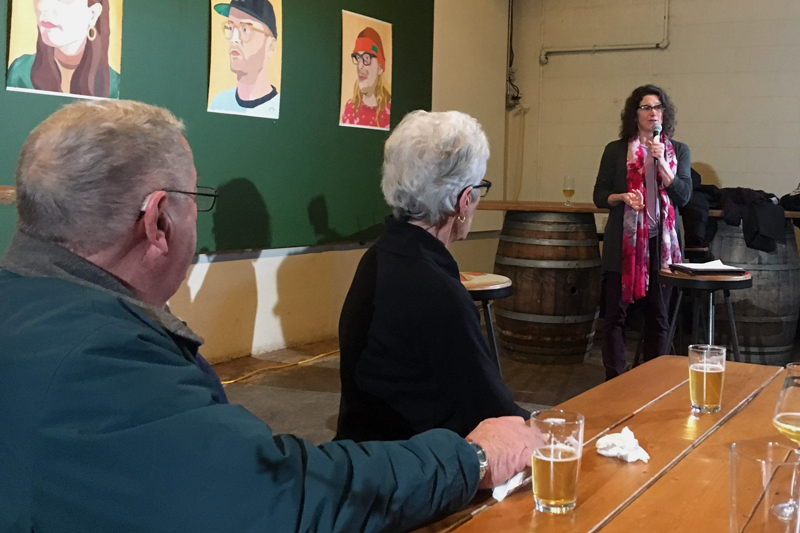 Newcastle native Belinda Ray (right) announces her campaign for mayor at Oxbow Blending and Bottling in Portland on Jan. 31 as her parents, Allan and Janet Ray, of Newcastle, look on. (Photo courtesy Belinda Ray)