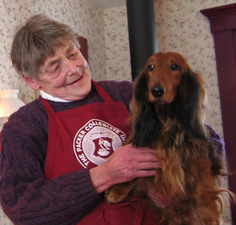 Sonia with her dachshund Vicki.