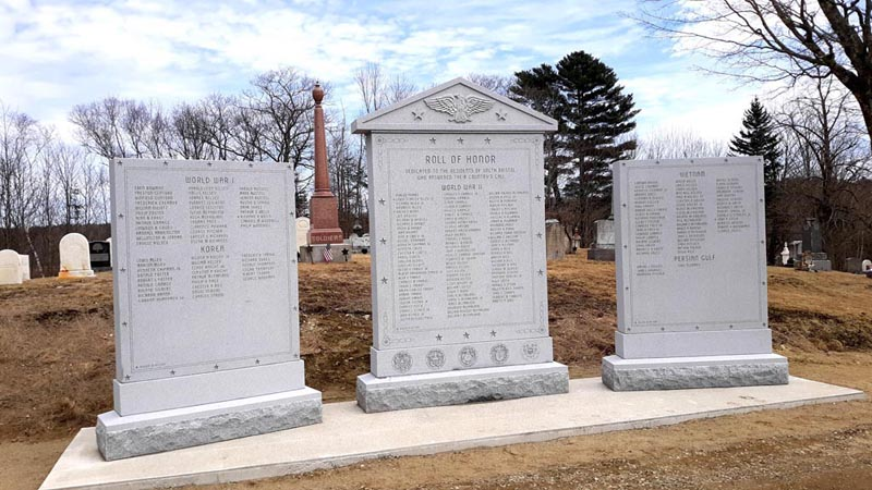 South Bristol's new three-part veterans memorial is complete after a full day of setting stones and sealing joints. The memorial at the West Bristol Cemetery in Walpole honors local veterans from World War I and II, Korea, Vietnam, and the Persian Gulf. (Candy Congdon photo)