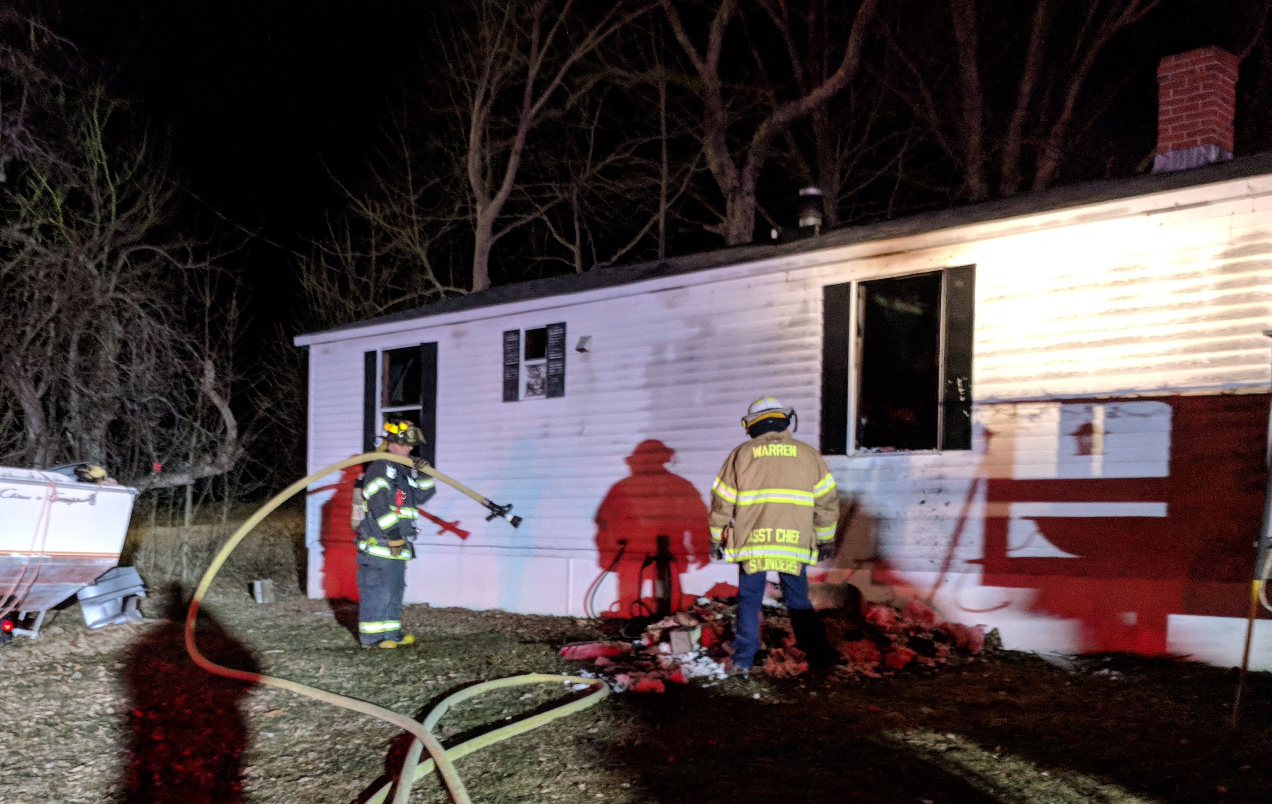Firefighters on the scene of a structure fire in Waldoboro during the evening of Tuesday, April 2. (Alexander Violo photo)