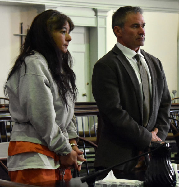 Shawna L. Gatto stands at the defense table with her attorney, Philip S. Cohen, during a hearing at the Lincoln County Courthouse in Wiscasset on Dec. 15, 2017. Gatto's trial on a charge of depraved indifference murder started Monday, April 1. (J.W. Oliver photo, LCN file)