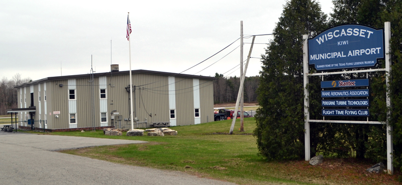The entrance to the Wiscasset Municipal Airport. The town's acquisition of an avigation easement from Chewonki Campground will secure the airport's future. (Charlotte Boynton photo)
