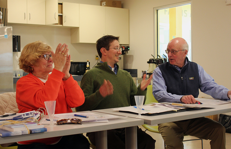 From left: Pemaquid Watershed Association President Sandi Day, attorney Rob Levin, and Damariscotta River Association President Joel Russ celebrate the moment of unification. The name of the new organization is Coastal Rivers Conservation Trust.
