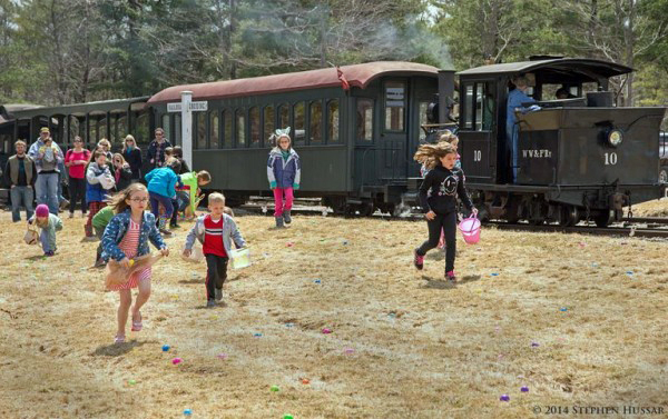 On Saturday, April 20, the Wiscasset, Waterville & Farmington Railway Museum will celebrate Easter on the narrow gauge with Easter Eggspress trains every 35 minutes from 10:50 a.m. until 3:30 p.m. (Photo courtesy Stephen Hussar)