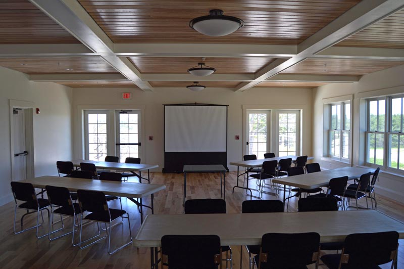 The David Moses Bridges Education Hall at Coastal Rivers Conservation Trust headquarters at Round Top Farm. All the wood in the hall is birch in honor of the late birch bark canoe craftsman. (Evan Houk photo)
