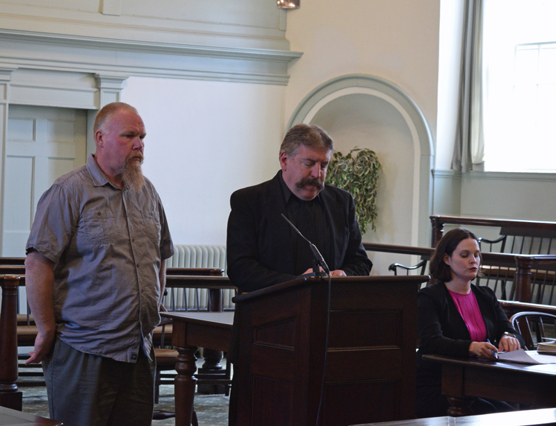 From left: Michael E. Holbrook, defense attorney Richard Elliott, and District Attorney Natasha Irving attend a hearing at the Lincoln County Courthouse in Wiscasset on Monday, May 13. Holbrook was sentenced for attempted murder and arson. (Jessica Clifford photo)