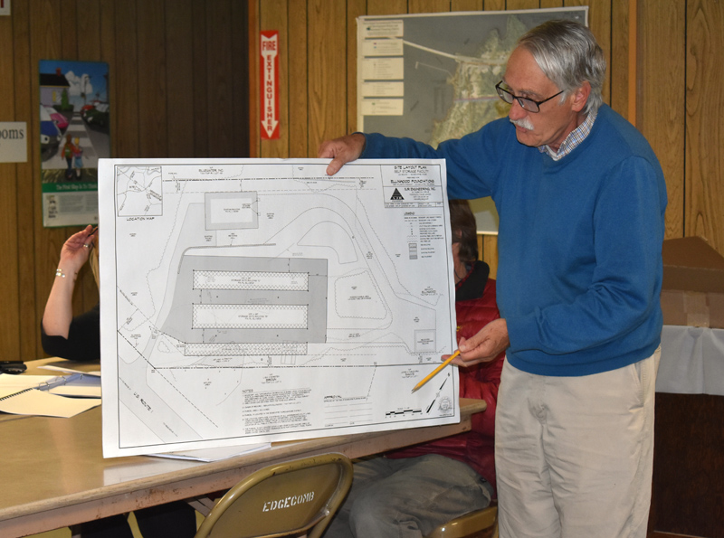 Newcastle architect George Parker presents Ben Ellinwood's plans to add three self-storage buildings at Rock Solid Storage to the Edgecomb Planning Board on Thursday, May 16. (Alexander Violo photo)