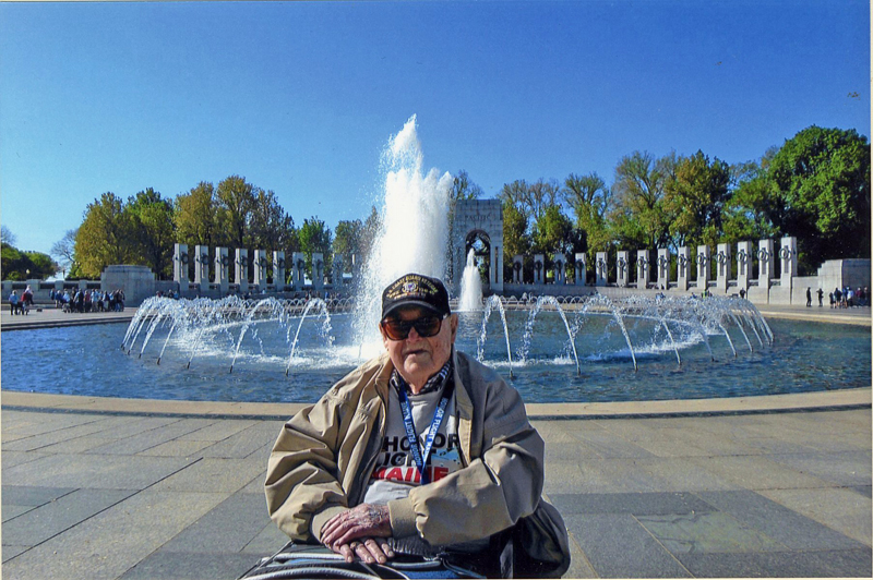 World War II veteran Eugene Walsh, 102, of Newcastle, in front of the World War II Memorial in Washington, D.C. on April 27. (Photo courtesy Marie Walsh)