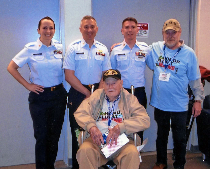 U.S. Coast Guardsmen welcome 32-year veteran Eugene Walsh, of Newcastle, back to Portland on April 28. From left: Morgan Olson, Geoff Potter, Eugene Walsh, David McDonald, and Dennis Walsh. (Photo courtesy Marie Walsh)