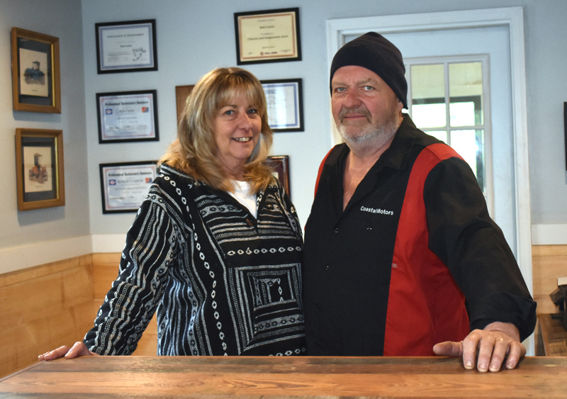 Kim and Bob Carew own Coastal Motors, a new auto repair shop in North Newcastle. The garage opened early this year. (Alexander Violo photo)