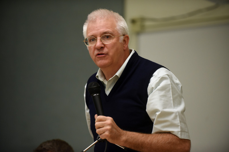 State Rep. Mick Devin speaks during a candidates forum at Great Salt Bay Community School in Damariscotta on Oct. 18, 2018. Devin has been on medical leave from the Legislature since February. (Jessica Picard photo, LCN file)