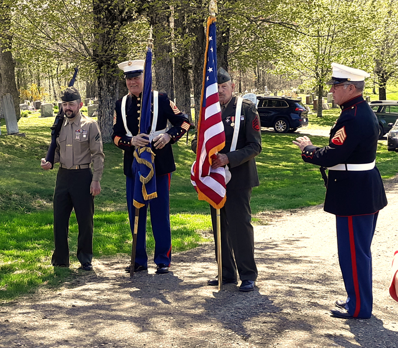 A color guard prepares to present the colors during the dedication of the South Bristol veterans memorial Sunday, May 26. From left: Scott Dodge II, Floyd Seiders, Gary Pitcher, and Ralph Eugley Jr. (Candy Congdon photo)