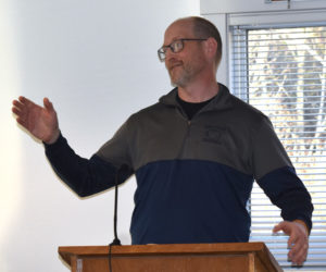 Moody's Diner co-owner and General Manager Dan Beck discusses plans to build an addition onto the restaurant during a Waldoboro Planning Board meeting at the municipal building Wednesday, May 8. (Alexander Violo photo)