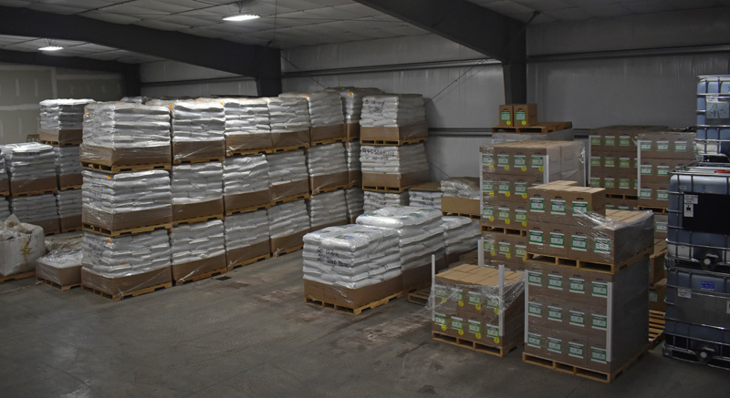 Pallets of product at Ocean Organics Corp. in the Waldoboro Business Park. (Alexander Violo photo)