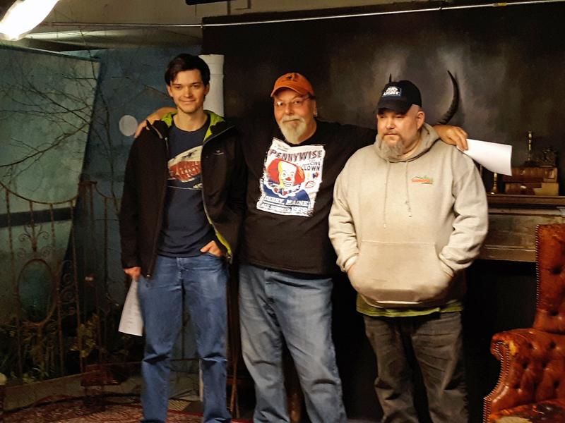 Co-producer Hunter Reid (left) and co-producer Dana Brown (right) greet program host Glenn Chadborne (center).