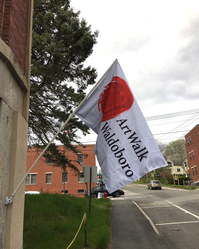 Look for this ArtWalk Waldoboro flag! (Image courtesy of Jacqueline Guillerm)