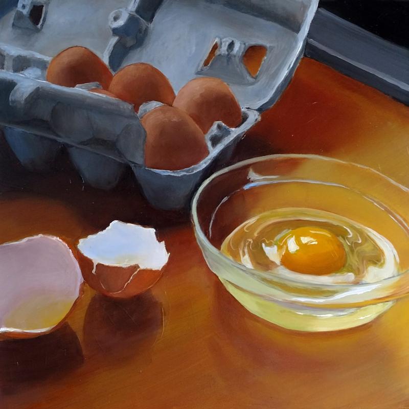 Elaine Abel's oil painting of eggs.