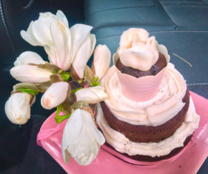 I made this cake, topped with real magnolias from my tree, for my friend Kathleen Duffy, who had recently lost the love of her life. (Suzi Thayer photo)