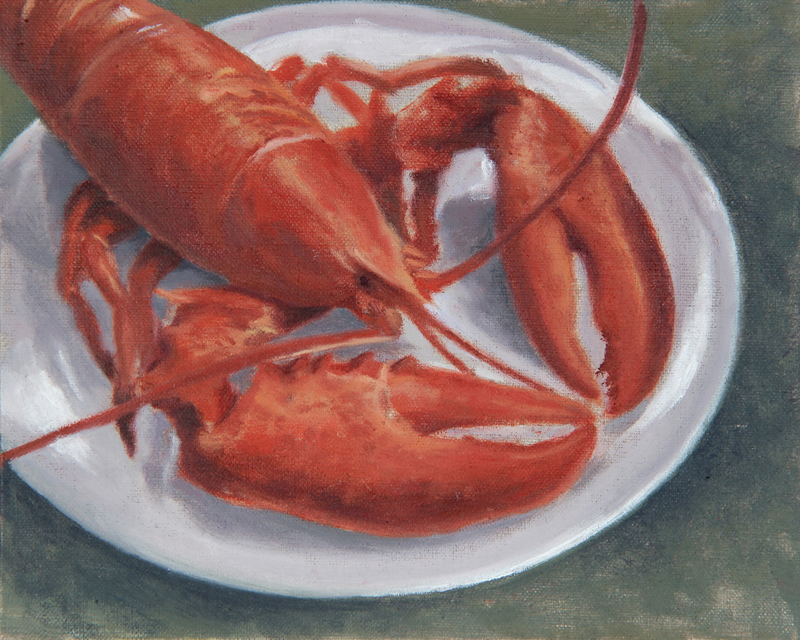 """Lobster Dinner,"" oil on linen panel, by Will Kefauver. This painting could be considered both a still life and an image of Maine wildlife!"