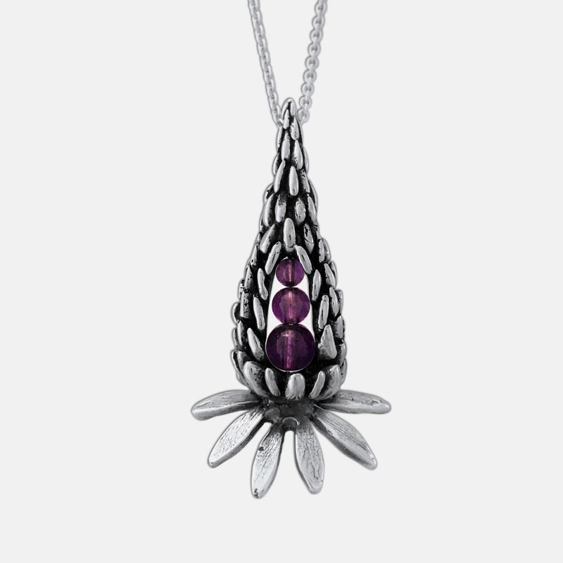 Peapod Jewelry's new sterling Peapod lupine necklace with amethyst.